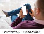 man using smartphone. mobile... | Shutterstock . vector #1105859084