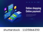 isometric shopping online and... | Shutterstock .eps vector #1105866350