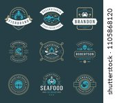 seafood restaurant logos set... | Shutterstock .eps vector #1105868120