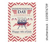 happy 4th of july bbq grill... | Shutterstock .eps vector #1105876739