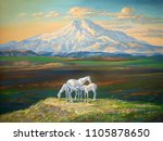 an oil painting on canvas.... | Shutterstock . vector #1105878650