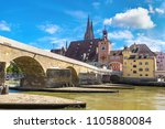 regensburg and cathedral ... | Shutterstock . vector #1105880084