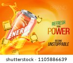 Stock vector apricot cold energy drink in metal can with ice and juice splash advertising banner soda water 1105886639