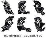 tropical parrot set with...   Shutterstock .eps vector #1105887530