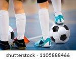 indoor soccer players training... | Shutterstock . vector #1105888466