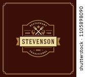 restaurant logo design vector... | Shutterstock .eps vector #1105898090