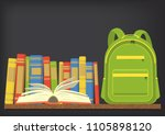 green school backpack on book... | Shutterstock .eps vector #1105898120