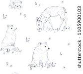 cute forest animals seamless...   Shutterstock . vector #1105900103