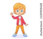 happy boy waves his hand ...   Shutterstock .eps vector #1105905428