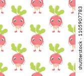 radish in cartoon style... | Shutterstock .eps vector #1105907783