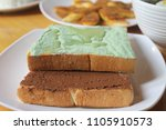 toast with chocolate jam and... | Shutterstock . vector #1105910573