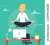 businesswoman doing yoga to... | Shutterstock .eps vector #1105910606