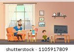 happy father having fun ... | Shutterstock .eps vector #1105917809