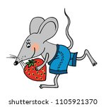 cute mouse is running with a... | Shutterstock .eps vector #1105921370