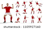 Small photo of Professional man - football soccer player with ball isolated white studio background. Collage with one fit male model. The professional football, soccer player concept. The attack, defense, fight
