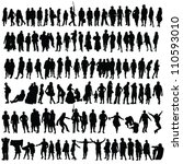 people vector black silhouette... | Shutterstock .eps vector #110593010