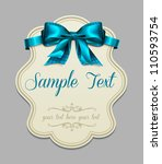 vintage label with a blue bow | Shutterstock .eps vector #110593754