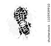 a trace from a boot on a white... | Shutterstock .eps vector #1105939910