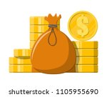 cloth bag with money. golden... | Shutterstock .eps vector #1105955690