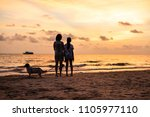 silhouette of asian girl with... | Shutterstock . vector #1105977110