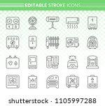 hvac thin line icons set.... | Shutterstock .eps vector #1105997288
