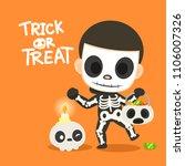 skeleton ghost. kid in skeleton ... | Shutterstock .eps vector #1106007326