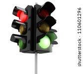 3d Traffic Lights On White...
