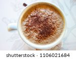 cup of morning coffee with... | Shutterstock . vector #1106021684