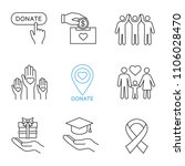 charity linear icons set. thin... | Shutterstock .eps vector #1106028470