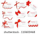 set of card notes with red gift ... | Shutterstock .eps vector #110603468