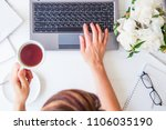 workspace with girl's hand on...   Shutterstock . vector #1106035190