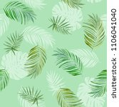 tropic palm leaf seamless... | Shutterstock . vector #1106041040