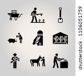 farm icon set. animal  farmland ... | Shutterstock .eps vector #1106051759