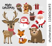 cute forest animals and santa... | Shutterstock .eps vector #1106063693