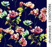 seamless pattern with garden... | Shutterstock . vector #1106070086
