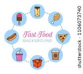 fast food background. can... | Shutterstock .eps vector #1106073740