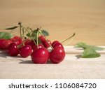 fresh cherry group with leaves... | Shutterstock . vector #1106084720