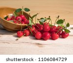 fresh cherry group with leaves... | Shutterstock . vector #1106084729