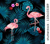 tropical leaves  flamingo and... | Shutterstock .eps vector #1106103389