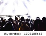 silhouettes of concert crowd in ... | Shutterstock . vector #1106105663