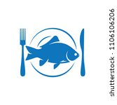 fish on plate with fork and...   Shutterstock .eps vector #1106106206