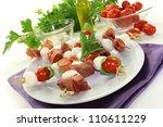 skewers with mozzarella  tomato ...   Shutterstock . vector #110611229