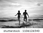 meditation and yoga on the... | Shutterstock . vector #1106126540