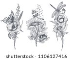 set of three vector floral... | Shutterstock .eps vector #1106127416