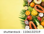 exotic fruits and tropical palm ... | Shutterstock . vector #1106132519