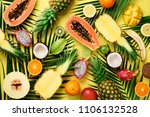 exotic fruits and tropical palm ... | Shutterstock . vector #1106132528