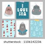 Stock vector cute animal sailor vector cartoon illustration set of poster card for design t shirt invitation 1106142236