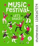music festival cartoon poster.... | Shutterstock .eps vector #1106167574