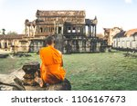 monk in reddish yellow robe... | Shutterstock . vector #1106167673