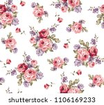 Stock vector roses pattern bunch of flowers repeating print for fabric 1106169233